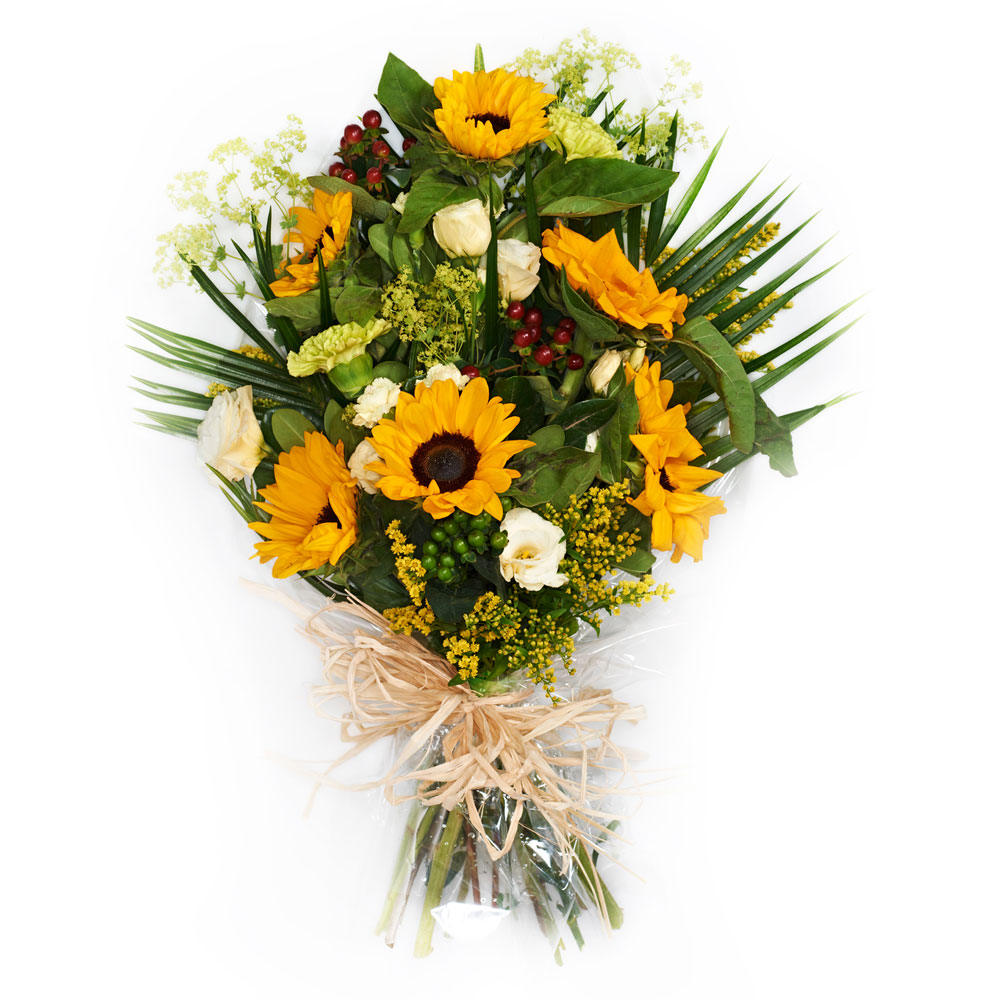 Dublin house of flowers order online or call 353 0 1 405 9039 the one pictured includes sunflowers which are not always available all year round we can make a funeral bouquet suitable for a izmirmasajfo