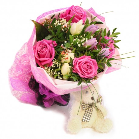 Pink Hand tied with Teddy