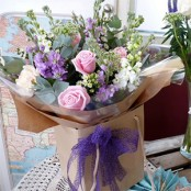 Scented stocks and Roses